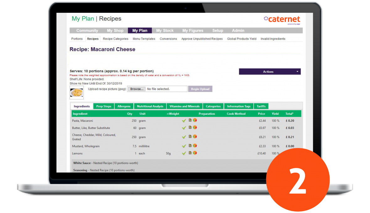 Caternet Recipe Builder