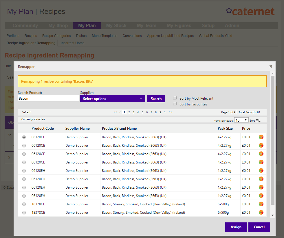 Caternet Recipe Ingredient Remapping
